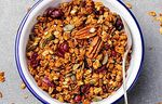 Crunchy muesli with pumpkin and honey seeds. Delicious recipe